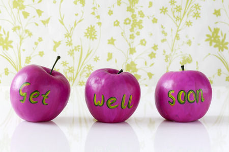 Get well soon card with handpainted pink apples