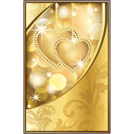 Beautiful Golden Background with Two Hearts,  illustration
