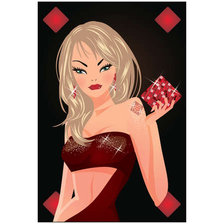 Poker diamond card with blondy girl.