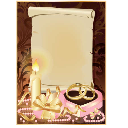 Wedding invitation card with candle and golden rings.