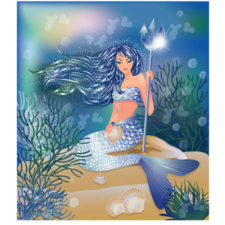 Beautiful Mermaid with Trident and seashell, vector illustration