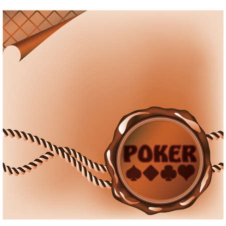 Poker card with sealing wax stamp