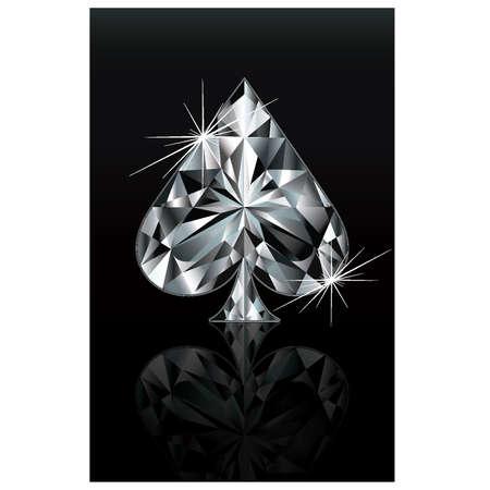 Diamond poker card sign spade, vector