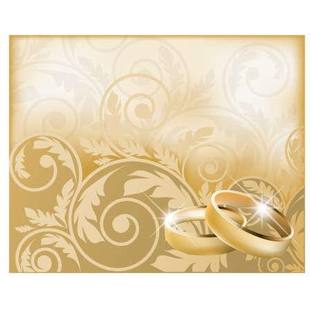 Foto de Wedding card with gold rings, vector illustration - Imagen libre de derechos