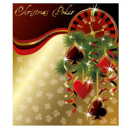Christmas poker greeting background, vector illustration