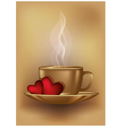 Valentines day coffee card, vector illustration