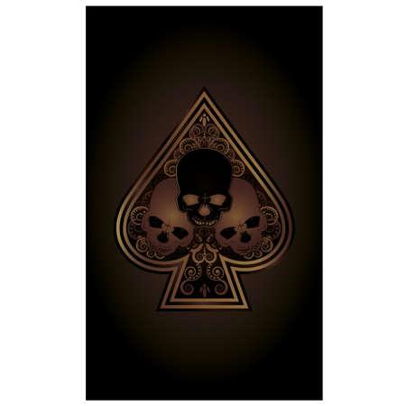 Casino Poker Spades card with skulls