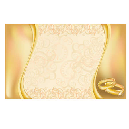 Wedding invitation card with  golden rings and floral ornate