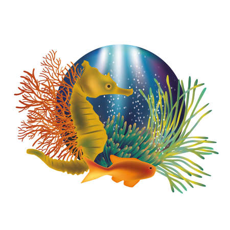 Illustration pour Underwater world banner with seahorse and fish illustration - image libre de droit