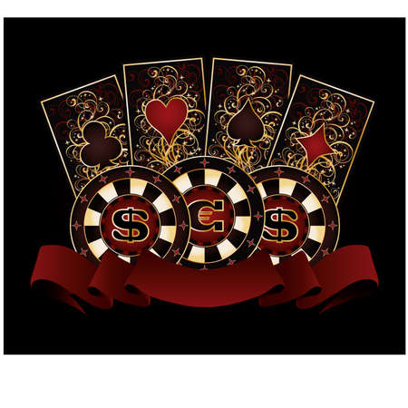 Casino banner with poker cards and chips