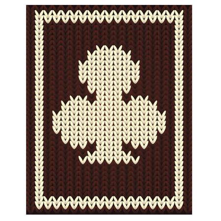 Knitting clubs poker card, vector illustration
