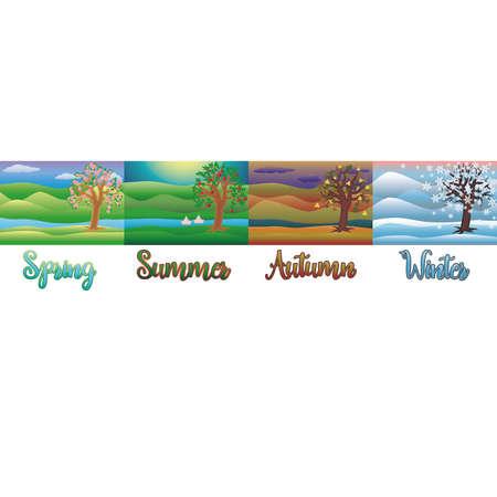 Four Seasons Wallpaper Vector Illustration Gráficos