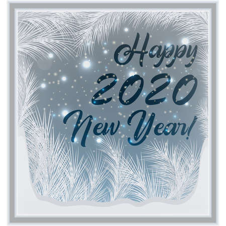 Ilustración de Happy 2020 New year frosted window wallpaper, vector illustration - Imagen libre de derechos