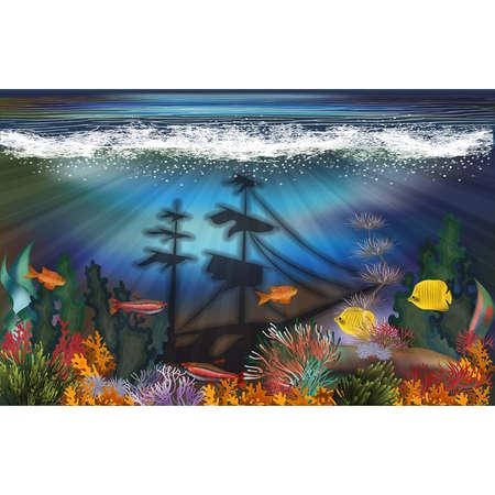 Illustration pour Underwater landscape with sunken ship background, vector illustration - image libre de droit