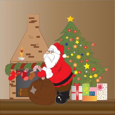 illustration of Santa Claus  dropping presents on Christmas night