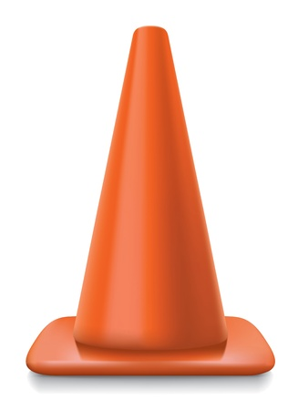 traffic conerealistic striped traffic cone illustration on white background