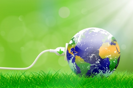 Ilustración de Green energy concept with Planet Earth and electric plug on lush grass - Imagen libre de derechos