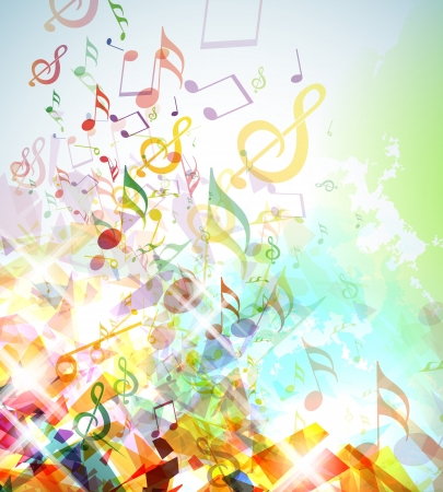Illustration for Illustration with colorful shattered elements and musical notes. - Royalty Free Image