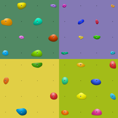 Four colorful climbing wall holds patterns