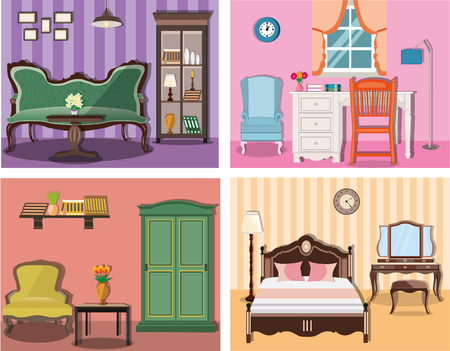 Set of colorful vector interior design house rooms with ... Icons Design House Beds on bed lifters, bed texture, bed desktop, bed seat cushion, bed on beach, bed bolsters, bed people, bed queen, bed on stilts, bed cooler, bed bunker, bed railing, bed for disabled at home,