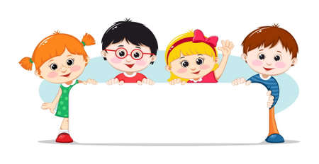 Illustration for Kids with a blank poster. Vector illustration - Royalty Free Image