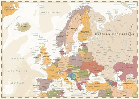 Illustration pour Europe Political Map. Retro Colors and Bathymetry. Detailed vector illustration of Europe Map. - image libre de droit