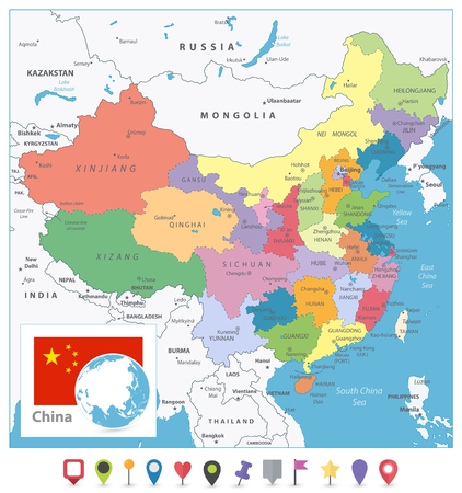 Illustration pour China Colored Map and Flat Pin Icons. Detailed vector map of China with cities, roads, railroads, rivers and lakes. - image libre de droit