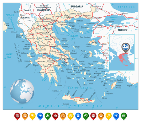 Greece Map and Colorful Map Markers. Detailed vector map of ...