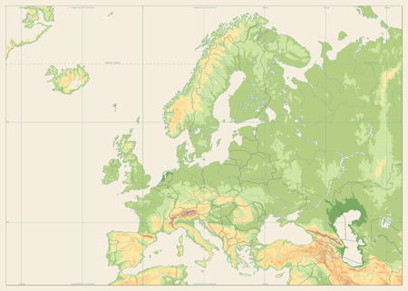 Europe Physical Map. No text. Detailed vector illustration ...