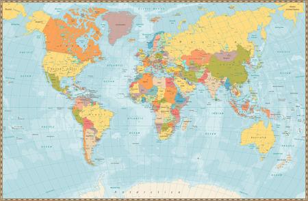 Illustration pour Large detailed vintage color political World Map with lakes and rivers. Highly detailed vector illustration of World Map. - image libre de droit