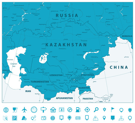 Central Asia Political Map and Navigation icons. Vector ...