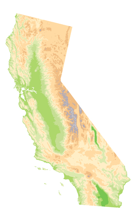 Physical Map Of California Isolated On White No Text Highly