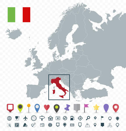 Italy location on Europe Map - Transparent background - Highly detailed vector illustration of map.