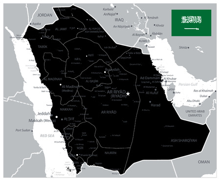 Black Color Saudi Arabia Map - Image contains layers with administrative divisions map, land names, city names - Highly Detailed Vector Illustration of Saudi Arabia Map.