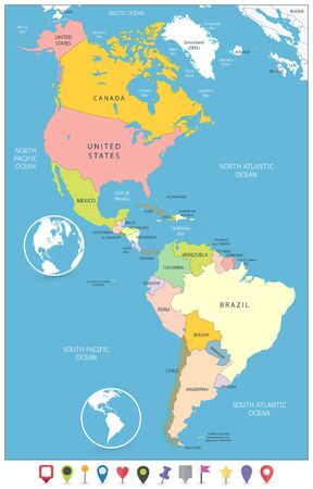 Illustration pour North and South America Political Map and Flat Map Markers. Vector illustration. - image libre de droit