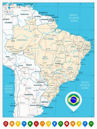 Illustration pour Road map of Brazil and colored map pointers. Vector illustration. - image libre de droit