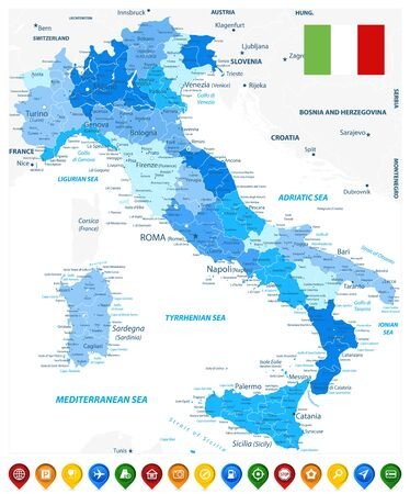 Illustration pour Italy Administrative Divisions Map Blue Colors and Colored Map Icons - Highly Detailed Vector Illustration of Italy Map - Image contains layers with administrative divisions map, land names, city names and map icons. - image libre de droit