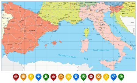 Illustration pour Spain and Italy Map and Colored Map Icons. All elements are separated in editable layers clearly labeled. Vector illustration. - image libre de droit