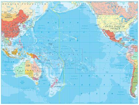 Illustration pour Pacific Ocean Political Map and bathymetry. Detailed Pacific Ocean Vector Map. Vector illustration. - image libre de droit