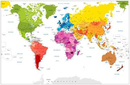 Illustration pour Detailed World Map spot colored illustration. Highly detailed spot colored illustration of World Map: land contours, countries and land names, city names and water object names. - image libre de droit