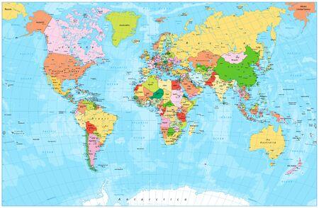Illustration pour Detailed political world map with capitals, rivers and lakes. Vector illustration. - image libre de droit