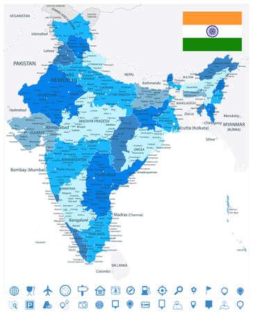 Illustration pour India Administrative Blue Map and Navigation Icons. Vector illustration. - image libre de droit