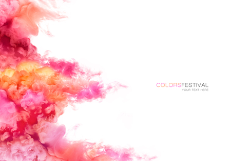 Closeup of colorful ink in water isolated on white background. Paint texture. Color Explosion