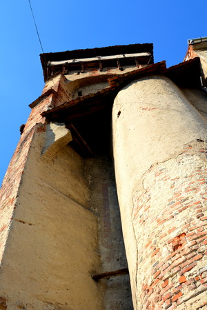 Tower of the church. Valea Viilor rural church was built in 16th century. UNESCO Heritage Site. Transylvania.