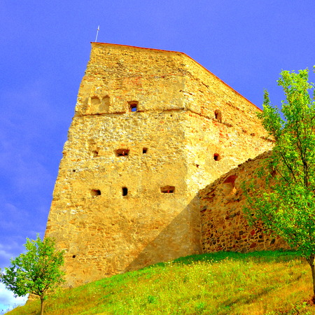 Rupea -Reps - fortress Medieval vestiges. It was Dacian settlement (Rumidava) and later, during the Roman occupation, the name was changed to Rupes (rock or stone - in Latin). Rupea fortress advantageous elevated Cohalm Hill, overlooking the upper town, w