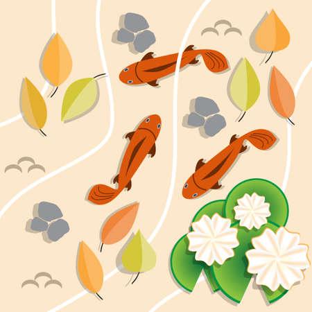 Illustration pour Autumn pond. Top view. Vector illustration. - image libre de droit
