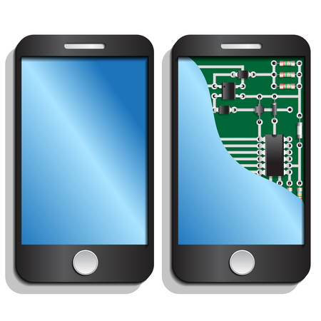 Smartphone with a view of the electronic circuit. Vector illustration.