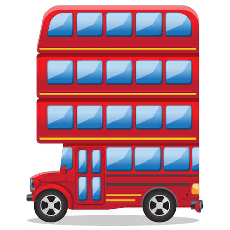 Illustration for Futuristic multi-storey bus. Side view. Isolated on white background. Vector illustration. - Royalty Free Image