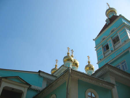 There are Orthodox church and  blue sky