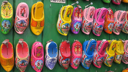 Typical Dutch clogs on sale on the flower market in Amsterdam, Netherlands